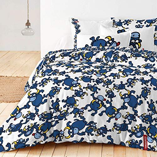Kukuxumusu - Funda de edredón (100% algodón, 260 x 220 cm), Color Blanco. Tejido Algodón 150 Hilos. Diseño Calidad...