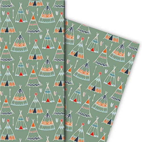 Avonturer cadeaupapierset (4 vellen)   Decorpapier met geschilderde tenten als luxe geschenkverpakking voor doop, geboorte, Pasen, verjaardag, bruiloft, Kerstmis en nog veel meer. 32 x 48 cm, groen