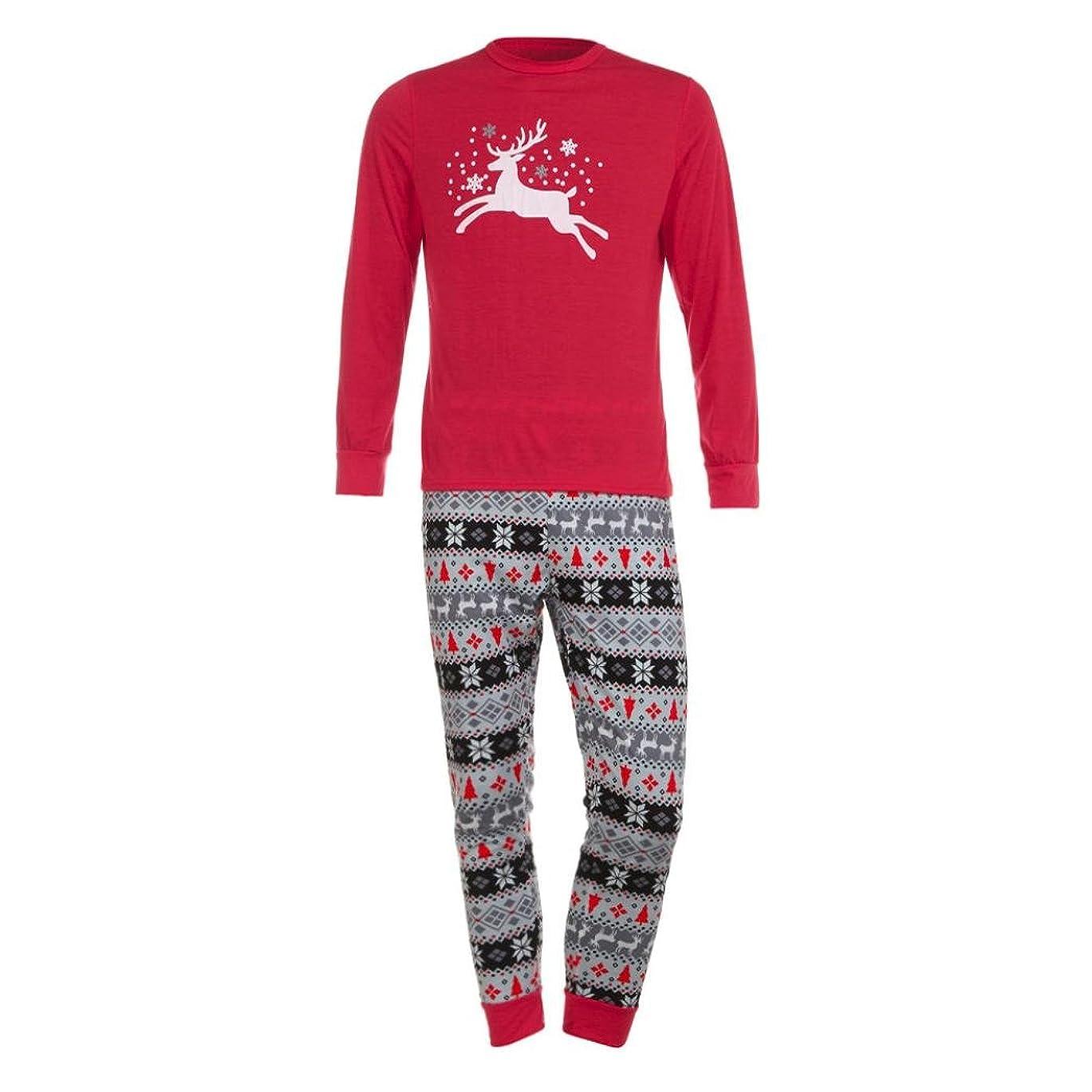 真実に塩石灰岩ファミリMatchingパジャマセットクリスマス鹿Tシャツトップスブラウスパンツfor the Family (メンズ) L グレイ TZZ70703662