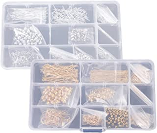 HOMYL Silver Color and Gold Color Jewelry Making Starter Kit Bracelet Kit Spacer Beads Positioning Spacer Beads Ear Wires 2 Boxes