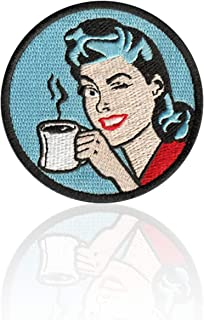 Pinup Girl Coffee Patch Iron on & Sew on Embroidered Applique Decoration DIY Craft for Tshirts, Denim Jackets, Hats, Bags