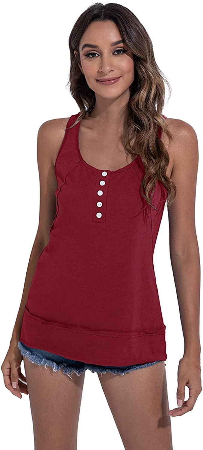 Women's Summer Fashion Front Button Solid Color Sleeveless Racer Vest