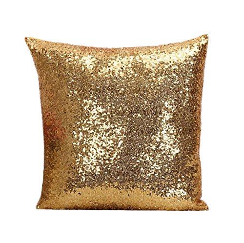 Outflower Funda de cojín de 40 x 40 cm con diseño de lentejuelas para sofá, dormitorio, salón, oficina o coche, dorado, 40 x 40 cm
