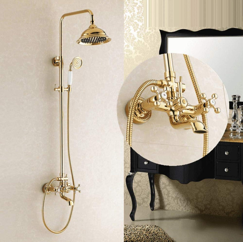 GZF Badezimmer Dusche Wasserhhne Retro Kopf groer Regen Goldene Bad Dusche Set Mischbatterie Antik