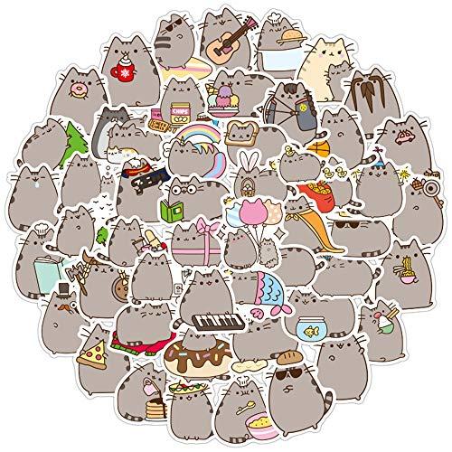 Nette Katze Aufkleber 100PCS Cute Pusheen Cat Stickers für Kinder Jugendliche Erwachsene Vinyl wasserdichte Aufkleber Wasserflasche Laptop Skateboard Partyzubehör Dekoration