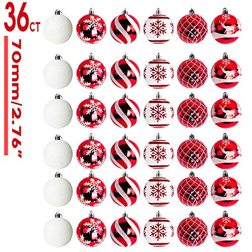 OurWarm 36ct 70mm Christmas Ball Ornaments Tree Decorations 6 Styles with Classic Red and White Shatterproof Christmas Bulbs Ornaments for Christmas Tree Ornaments Tree Skirt Home Party Holiday Decor