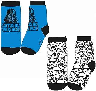 Le fantasie di casa, Los fantasías de casa Calcetines para niña Tg 23/26 juego 2 piezas Star Wars de algodón blanco y azul con licencia Disney.