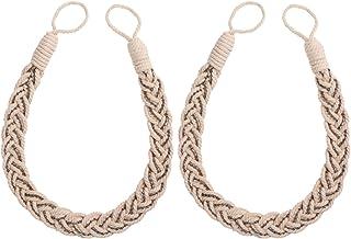 WINOMO Abrazaderas Cortinas Cuerda Cortina Clip Atado a Mano Cuerda del cordón Trenzado de Punto con chinchetas 2pcs