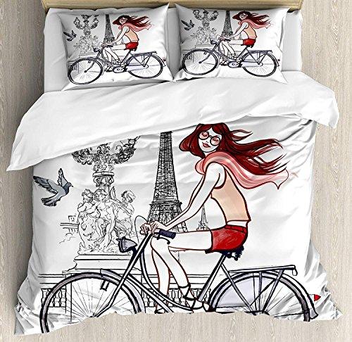 Juego de sábanas de la Torre Eiffel de 3 piezas Juego de funda nórdica, ilustración de una mujer en el puente Alexander III en París, andar en bicicleta, juego de funda de 3 piezas de consolador / Qul