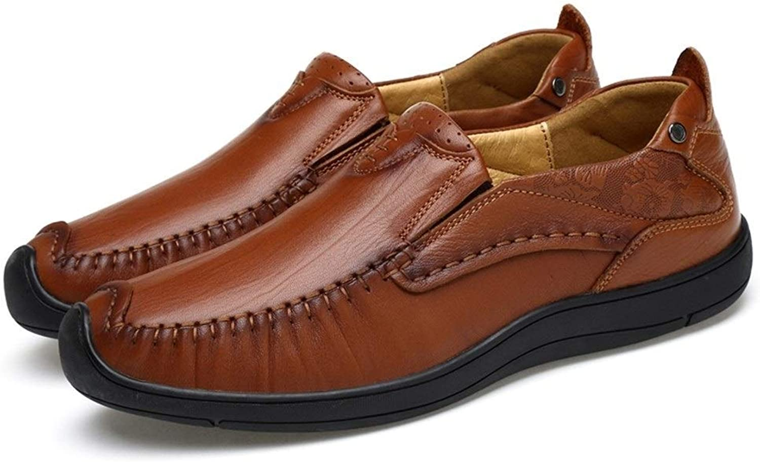 Drivskor för män Genuine läder Business Dress Loafers Anti -Slip -Slip -Slip Flat Slip -on Collision Avoyance (färg  bspringaaa, Storlek  9.5 D (M) US)  noll vinst