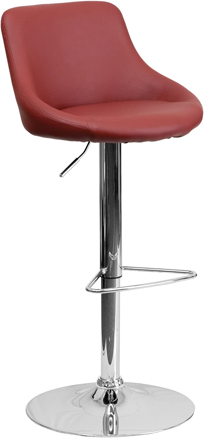 Offex OF-CH-82028-MOD-BURG-GG Contemporary Vinyl Bucket Seat Adjustable Height Bar Stool with Chrome Base, Brown