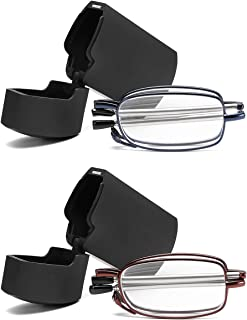 FEISEDY Folding Reading Glasses 2 Pack Unisex Reader Compact Glasses with Case B2432