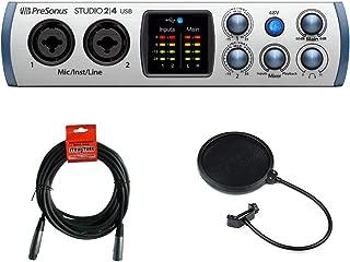 PreSonus Studio 2|4 USB Audio Interface with 20' XLR Cable & Pop Filter Bundle