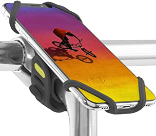 Universal Bike Phone Mount (Upgraded Compatibility with Face ID and Large Smartphones) Bicycle Stem Handlebar Cell Phone Holder for iPhone 11 Pro Max XS XR 8 7 6 Plus, Bike Tie Pro 2 Series (Black)