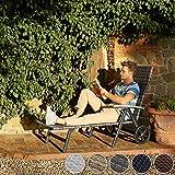 TecTake 800722 Aluminium Poly Rattan Sonnenliege mit Armlehnen und Rollen, klappbar, Gartenliege mit höhenverstellbarer Rückenlehne – Diverse Farben – (Grau   Nr. 403219) - 3