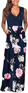 Women's Floral Maxi Dresses Sleeveless V-Neck Loose Plain Casual Long Dresses with Pockets