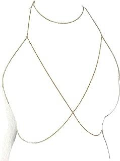 Sexy Sequins Bra Body Chain Bikini Shiny Luxury Harness Necklace Body Jewelry for Wedding Beach Body Accessories (Gold)