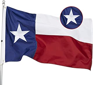 DANF Longest Lasting Texas State Flag 3x5 Feet Made from Nylon - Embroidered Stars - Sewn Stripes - UV Protection Perfect for Outdoors!