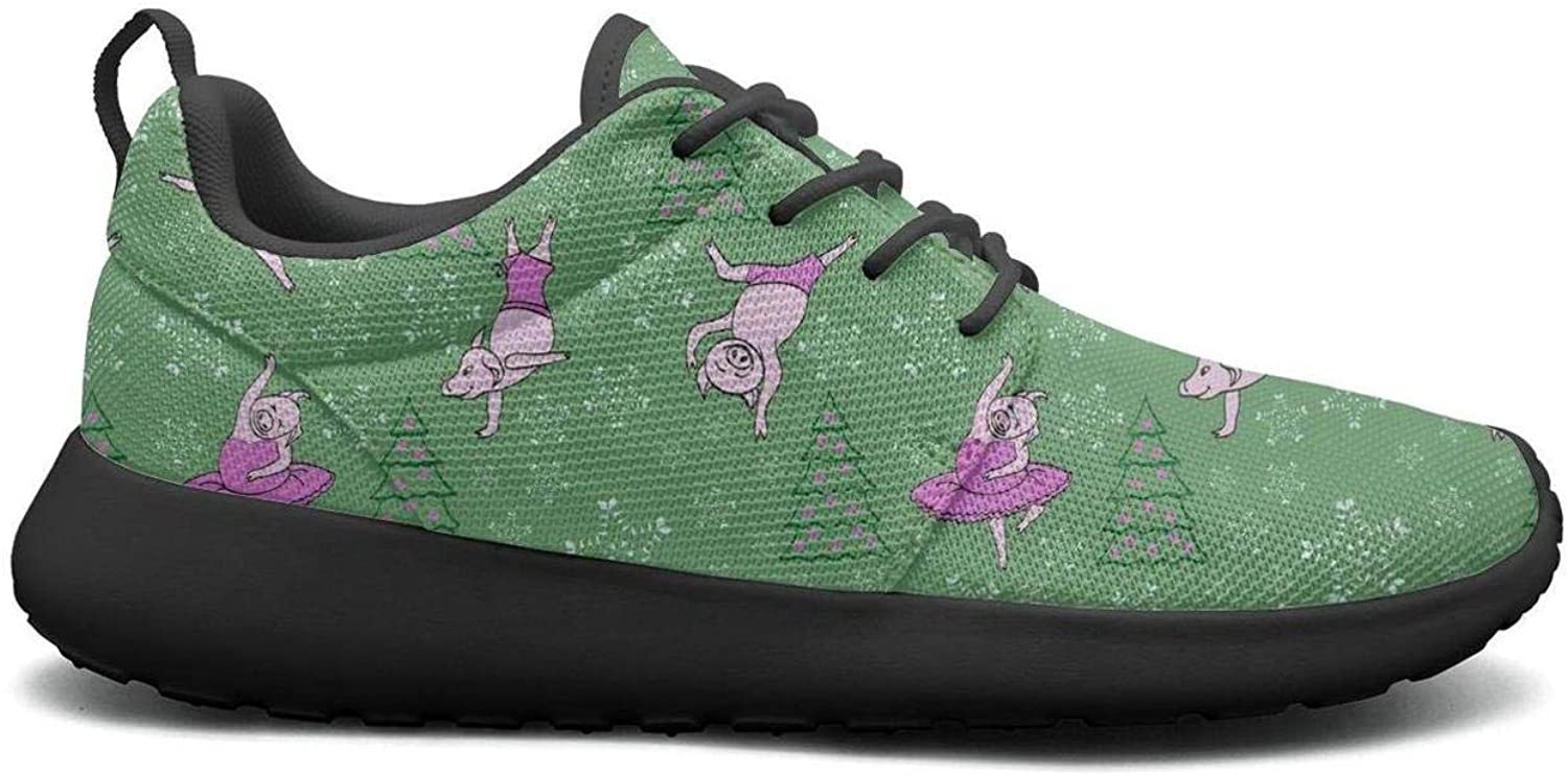 Gjsonmv Pig Dancing Next to The Green Christmas Tree mesh Lightweight shoes for Women lace up Sports Trail Running Sneakers shoes