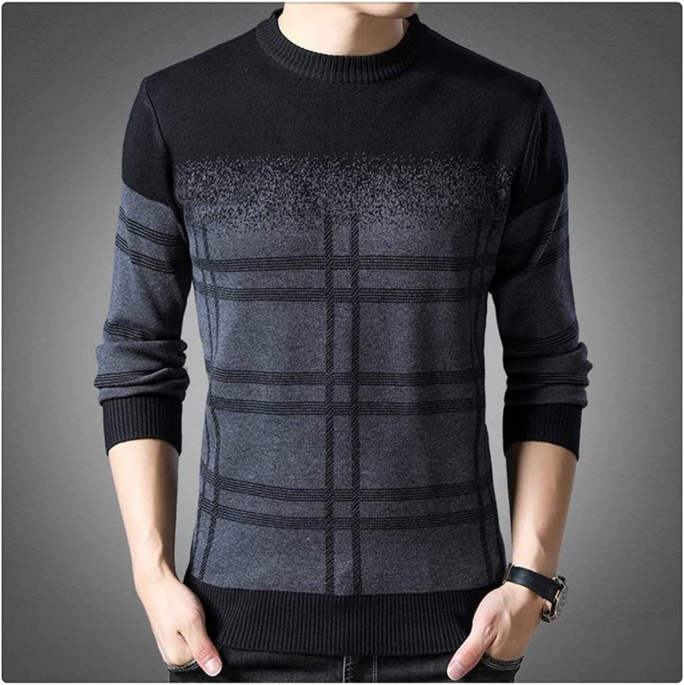 ZTTZX Sweater Mens Pullovers Thick Slim Fit Jumpers Knitwear Woolen Winter Korean Style Casual Clothing Men (Color : Gray, Size : 3XL Code)