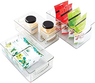 mDesign Plastic Kitchen Pantry Cabinet, Refrigerator or Freezer Food Storage Bin Container with Handles - Organizer for Fr...