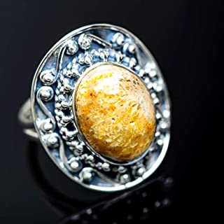 Ana Silver Co Large Fossil Coral Ring Size 8.5 (925 Sterling Silver) - Handmade Jewelry, Bohemian, Vintage RING949800