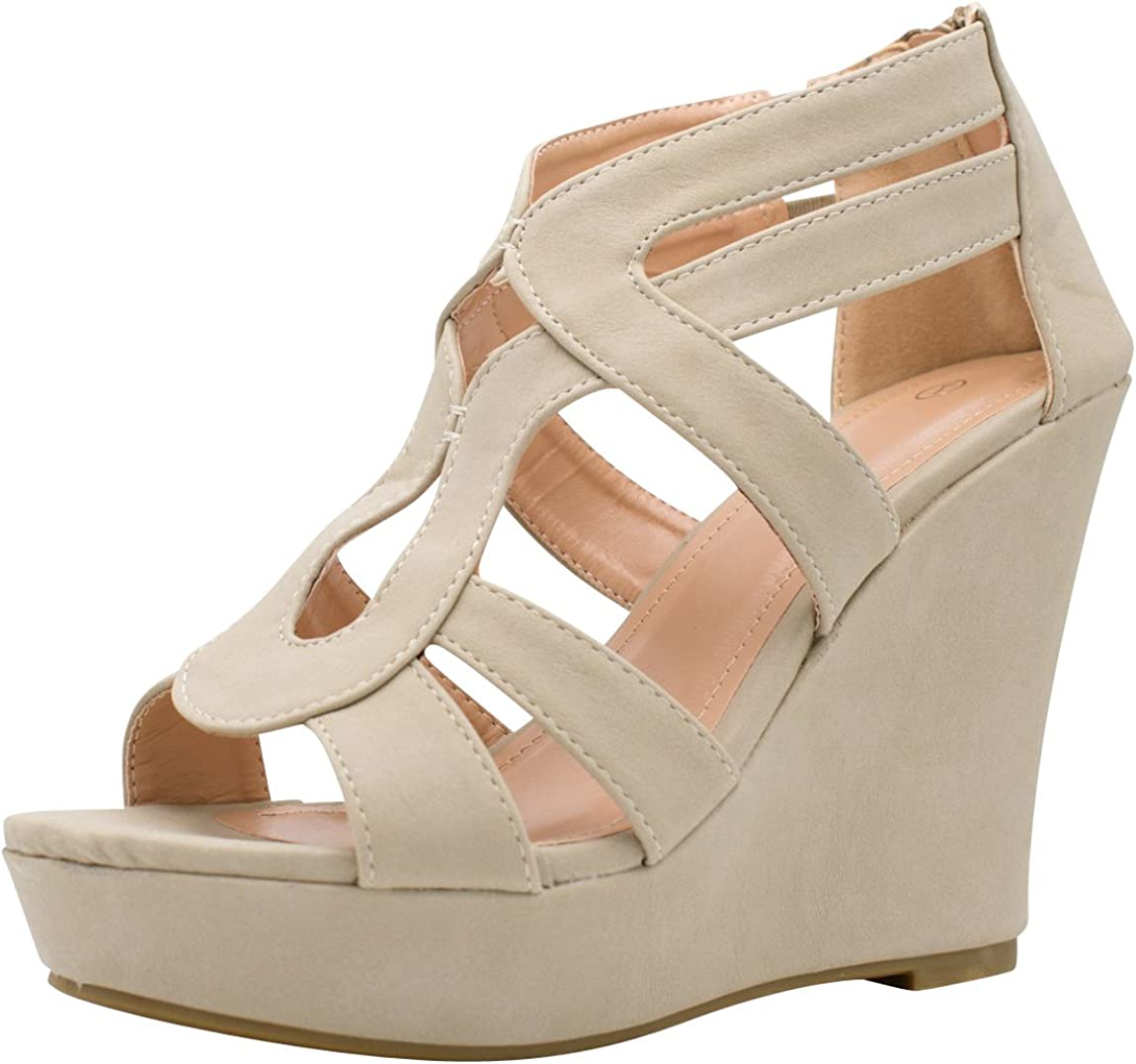 Cambridge Select Free shipping anywhere in the Limited time for free shipping nation Women's Open Toe Platform Chunky W Cutout Caged