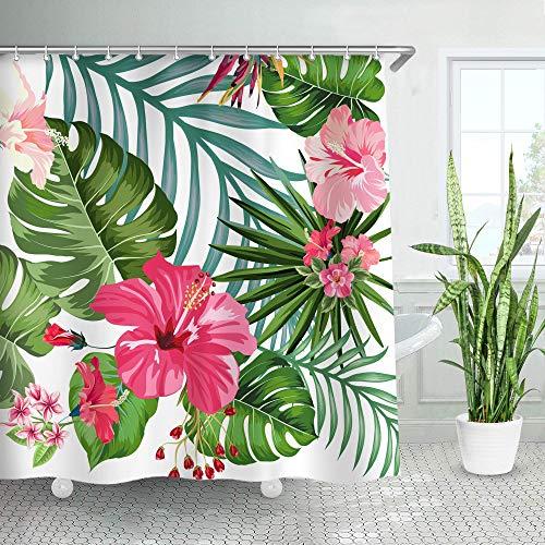LIVILAN Tropical Leaf Shower Curtain, Green Palm Fabric Bathroom Curtain Set with Hooks Decorative Banana Leaves 72x72 Inches Machine Washable
