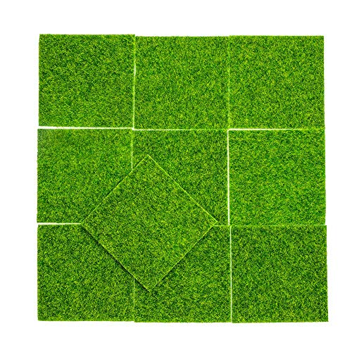 YMHPRIDE 10 Stk. Kunstrasen Mini Modern Grass Turf DIY Feengarten Puppenhaus Rasen, Synthetischer Garten Rasen für Garten Landschaft Balkon Büro Home Decoration (15 cm * 15 cm)