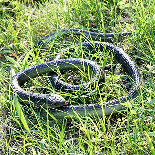 3 Pieces Large Realistic Rubber Snakes, Halloween Scary Toy Fake Black Mamba Snake for Garden Props to Scare Birds…