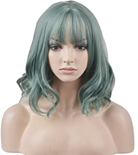 BERON 14'' Short Curly Women Girl's Charming Synthetic Wig with Air Bangs Wig Cap Included (Mint Green)