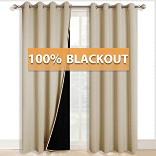 RYB HOME Large Window Curtains - 100% Room Darkening Curtains for Bedroom, Light Block Thermal Insulated Grommet Drapes for Living Room Dining Home Theater Backdrop, 52 x 108, Biscotti Beige, 2 Pcs