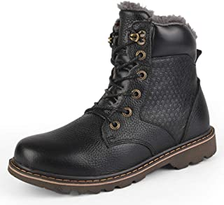 Phil Betty Mens Martin Boots Winter Plus Velvet Warm Round Toe Lace-Up Mid Tube Boots