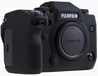 Cresee FUJIFILM ミラーレス一眼 X-H1 カメラ専用保護カバー 富士フイルム シリコンケース 撮影ケース 超薄型 シンプル ソフトラバー 柔軟 柔らかい 衝撃吸収 全面保護 耐震 耐衝撃 耐磨耗 ボディケース バッテリーの交換でき ネジ穴付き (FUJIFILM X-H1, ブラック)