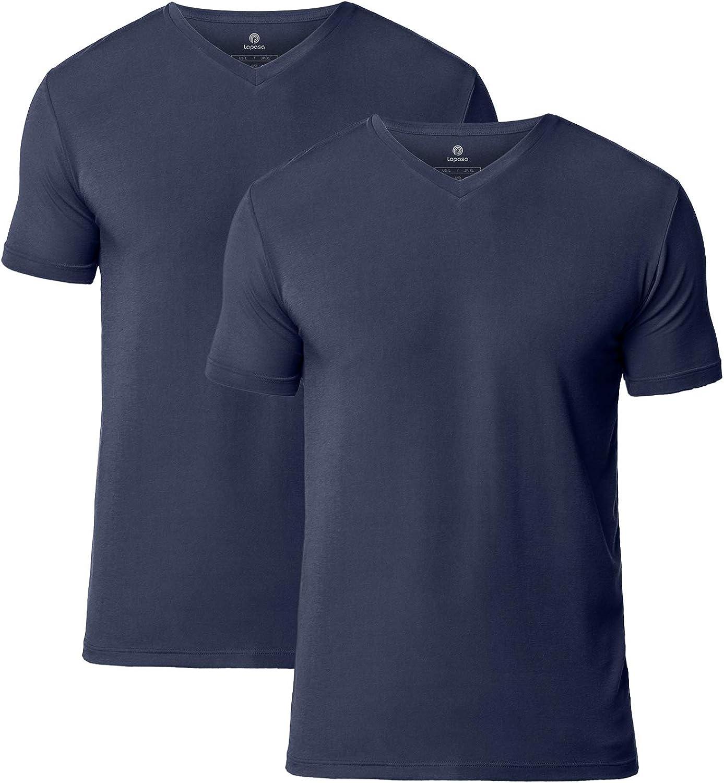LAPASA Pack de 2 Camisetas de Hombres Manga Corta de Austria Lenzing Micromodal® (Origen Natural) Camiseta Interior M07/M08