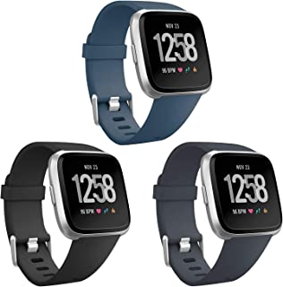 ESeekGo Compatible with Fitbit Versa Bands/Versa Lite/Versa 2/Special Edition, 3 Pack Sport Silicone Breathable Soft Replacement Fitness Watch Wristband Small Large for Men, Women