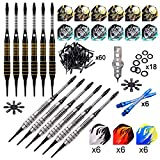 ONE80 Soft Tip Dart Set, 12 Pack Steel Barrel, with Extra Flights, Spare Softtip Points,Strong Aluminum Shafts, Flight Protectors and Tool Kit