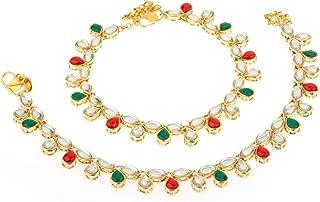 Efulgenz Indian Bollywood Crystal Rhinestone Faux Kundan Wedding Bridal Anklet Set (2 pc) Bracelet Payal Foot Jewellery