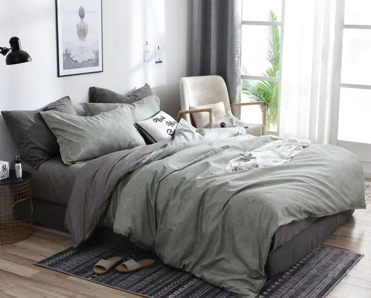 Amazon Com Couturebridal 3 Pieces Green Grey Chambray Duvet Cover Set Queen Size Modern Solid Color Microfiber Bedding Sets Reversible Taupe Gray Rustic Style Comforter Quilt Covers For Men Women Kitchen Dining