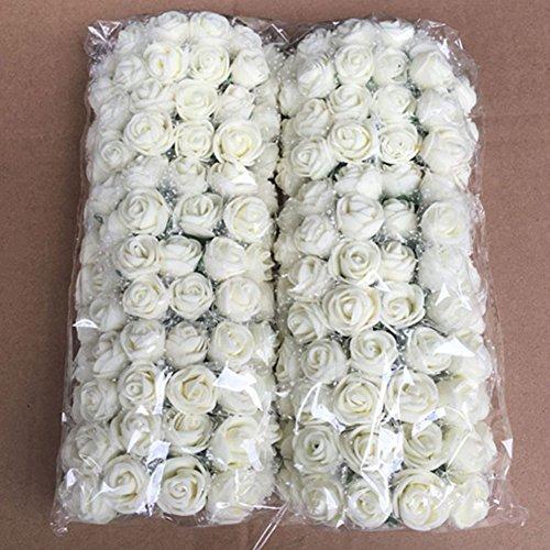 WOOPOWER Artificielle Forme Rose, Fleurs, 144 pcs 2,5 cm Mini Bouquet de Fleurs de Rose en Mousse...