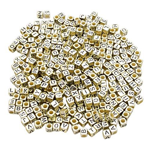 SeniorMar-UK Mischen Sie Buchstaben Perlen Quadratische Alphabet Perlen Acryl Perlen DIY Schmuck Herstellung für Armband Halskette Zubehör