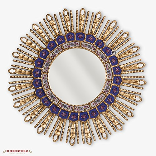 Peruvian Sunburst Wood Mirror 23.6'- Sapphire Blue Mirror for wall decor, Reverse Painting on glass, Gold Wall Mounted Mirror from Peru