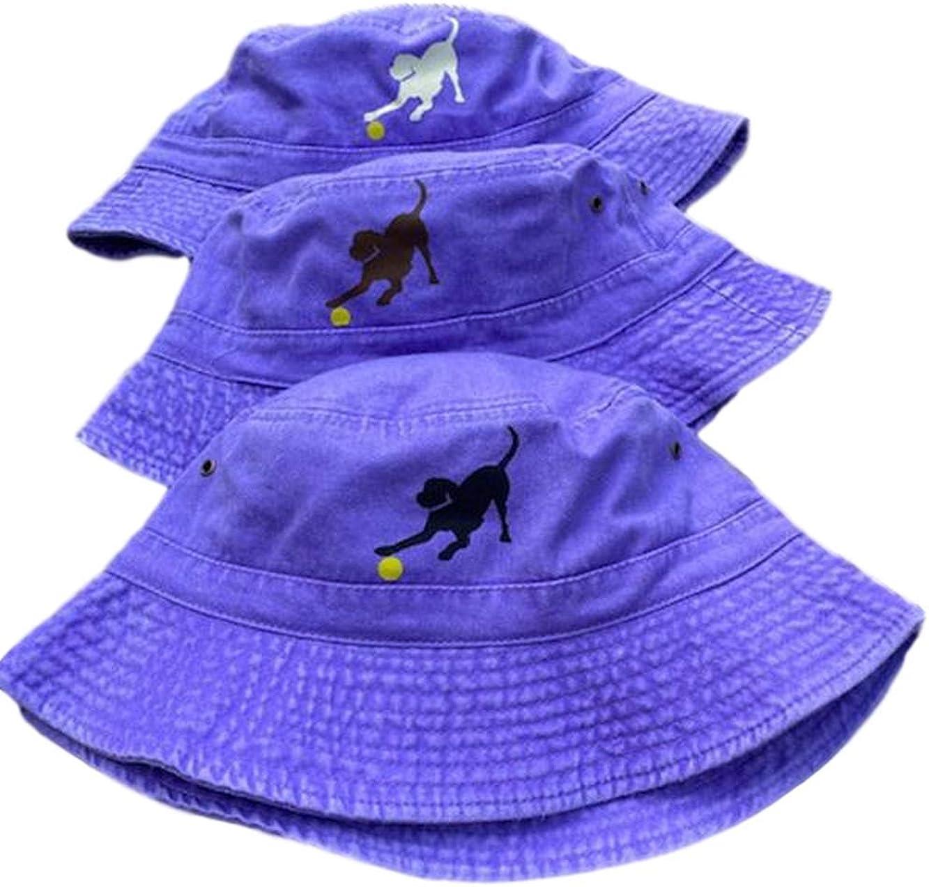 JUS LABS Adult Labrador Bucket Hats - Unisex - 100% Washed Cotton - Yellow/Black/Chocolate Lab - Purple