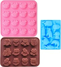 Food Grade Silicone Mold, IHUIXINHE Non-stick Ice Cube Mold, Jelly, Biscuits, Chocolate, Candy, Cupcake Baking Mould, Muffin pan (Piggy &Fish & Owl 3PCS)