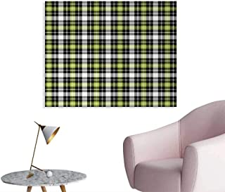 Tudouhoho Abstract The Office Poster Square Shaped Horizontal and Vertical Lines Geometric Style Art Print Wall Paper Black Grey Lime Green W36 xL24