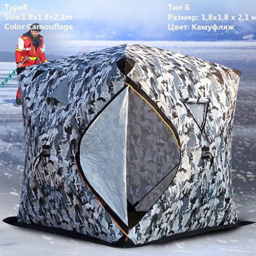 HLSX Eisfischerzelt DREI Schichten Verdicktes warmes Baumwollcamping 3-4 Personen Zelt Winddichtes Winterfischen Eisschutz, Typ B 1.8x1.8x2.1m