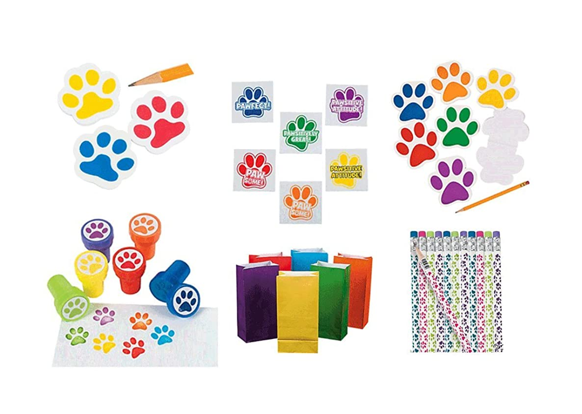 204 Pieces Paw Print Birthday Party Favor Bundle Pack Animal Lover 12 Wooden Paw Print Pencils, 12 Stampers, 144 Motivational Tattoos, 12 Notepads, 12 Erasers, 12 Paper Bright Color Bags
