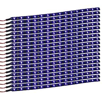 XT AUTO Blue 12v 15 Led 30cm Car Flexible Waterproof Underbody Light Strip Pack of 20