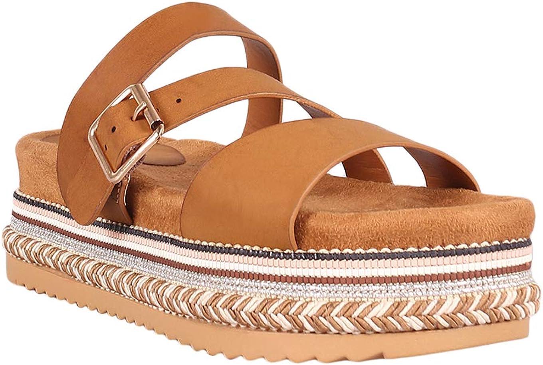 Alrisco Women Metallic/Leatherette Triple Straps Slide Flatform Sandal RB52 - Tan Leatherette (Size: 6.5)