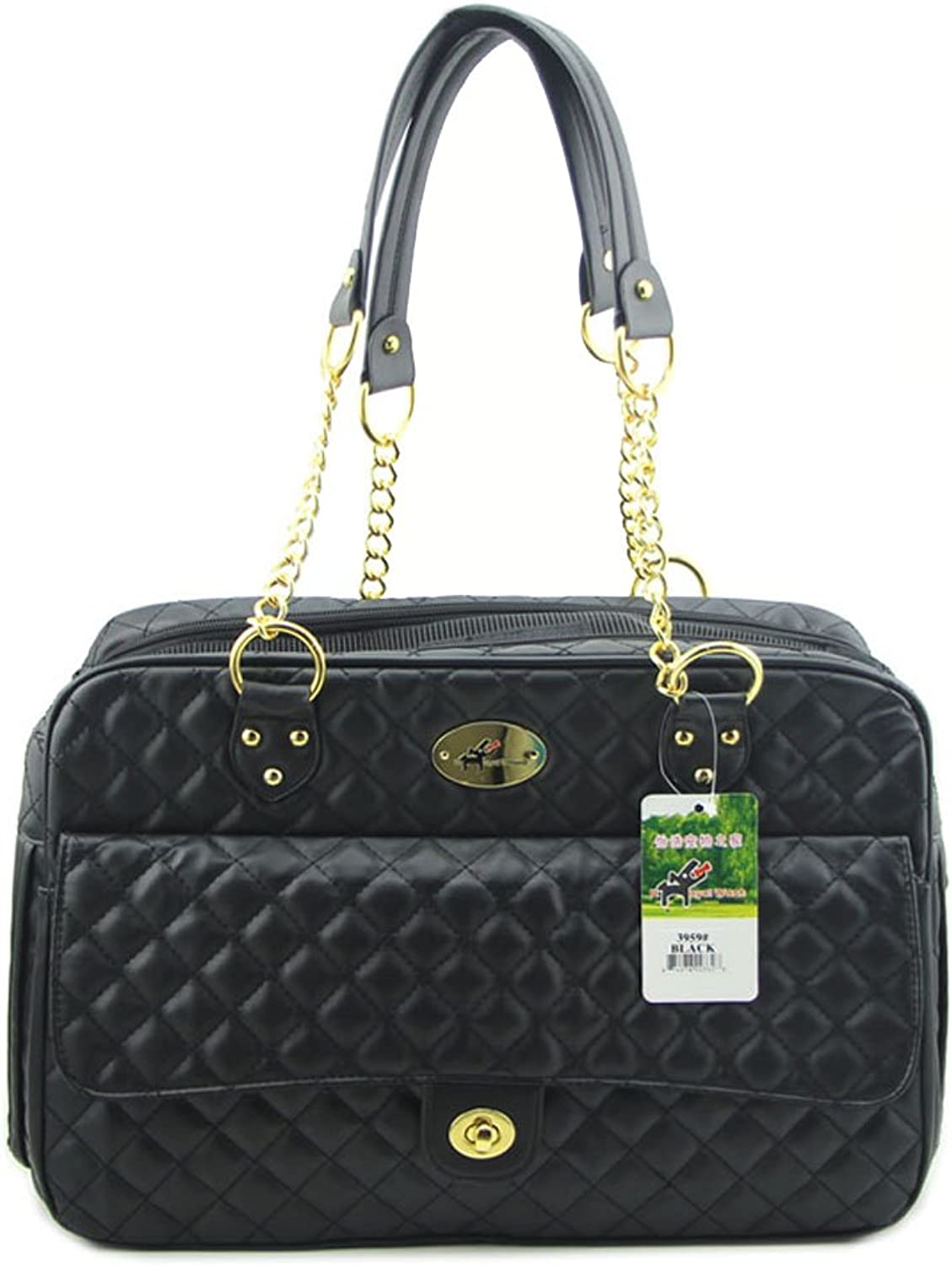 BJOY New Dog Carrier Dog Handbag Dog Purse Pet Tote Bag Soft Sided Pet Carriers with Double Chain Handles Black